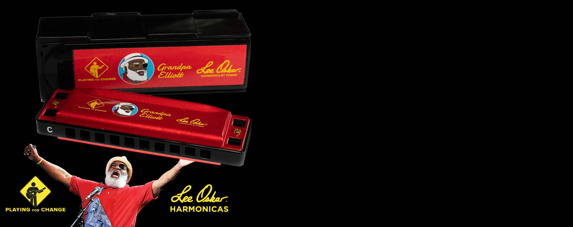 Limited Edition Grandpa Elliot Lee Oskar Harmonica Playing For Change
